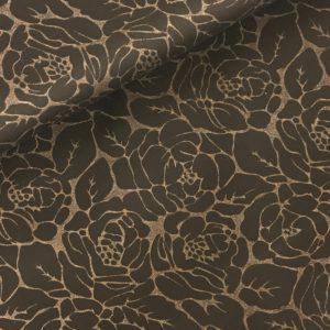 Stetch katoen zwart bruine bloemen