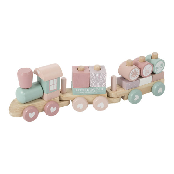 Blokkentrein hout pink