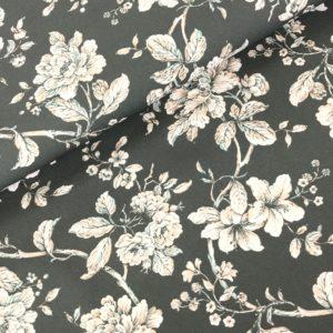 Katoen Florian bloem grijs