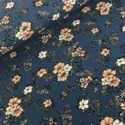 Viscose tricot bloemen blauw