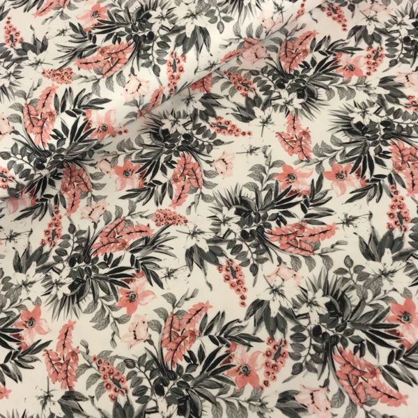 Stretchkatoen bloemen grijs roze