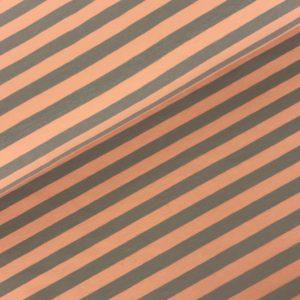 Tricot streep zalm/grijs