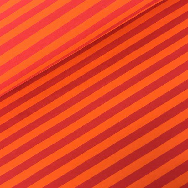 Tricot streep fushia/oranje