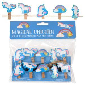 Unicorn slinger met knijpertjes