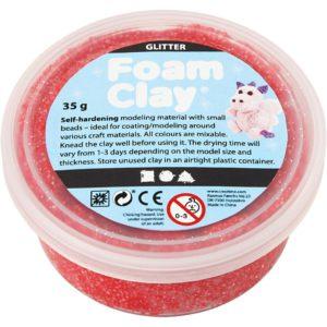 Clay foam glittter rood 35gr