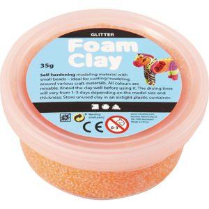 Clay foam glittter neon oranje 35gr
