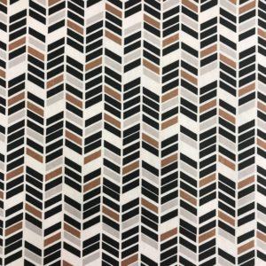 Geplastficeerd katoen geo zwart/brons