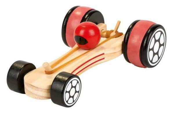 Racewagen hout met elastiek