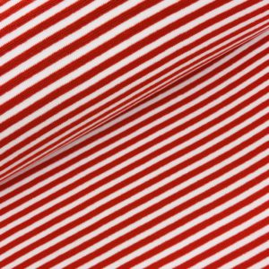 Boordstof streep wit/rood