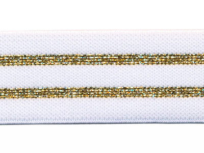 Elastiek gestreept 30mm wit/goud