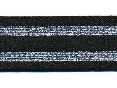 Elastiek gestreept 30mm zwart/zilver