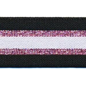 Elastiek gestreept 30mm zwart/roze/wit