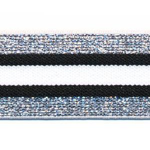 Elastiek gestreept 30mm zilver/zwart/wit