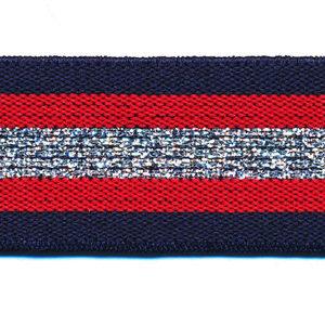 Elastiek gestreept 30mm blauw/zilver/rood