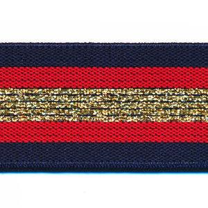 Elastiek gestreept 30mm blauw/goud/rood