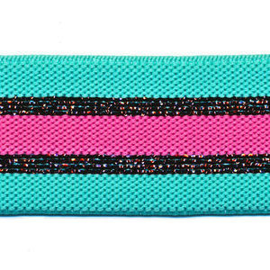 Elastiek gestreept 30mm turq/zwart/roze