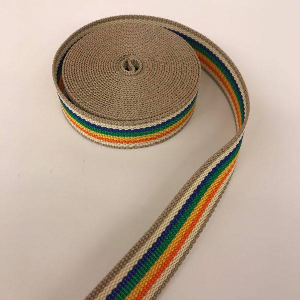 Tassenband streep beige multicolor