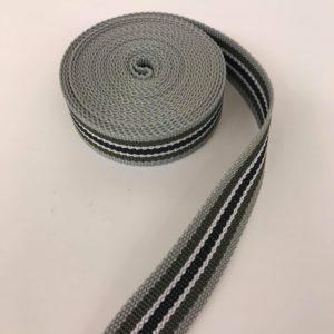 Tassenband streep grijs/groen/zwart