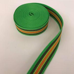 Tassenband streep groen/bruin/oranje