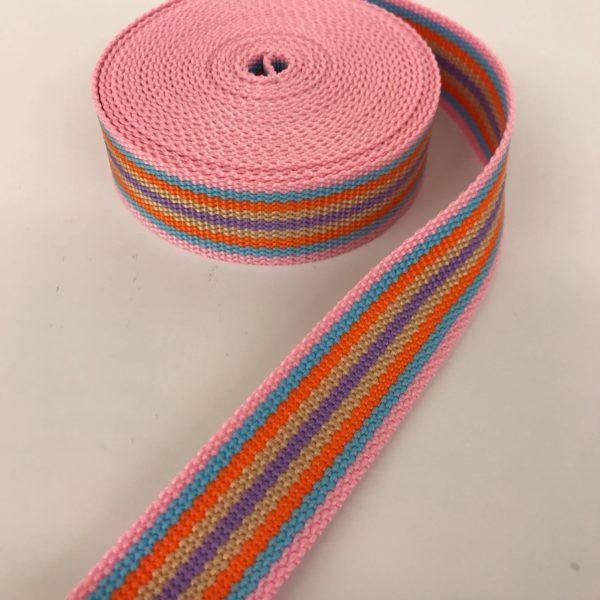Tassenband streep roze multicolor