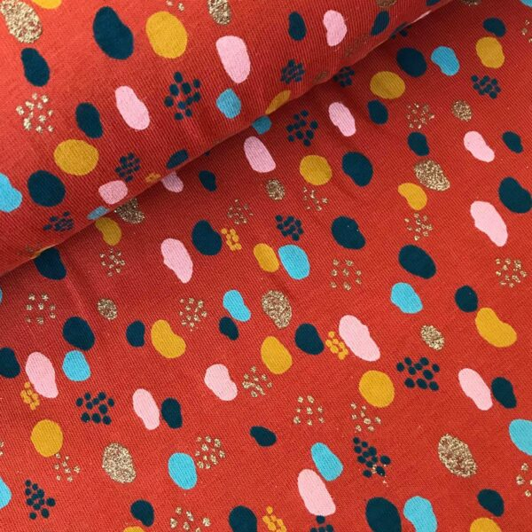 Tricot Dots glitter roest