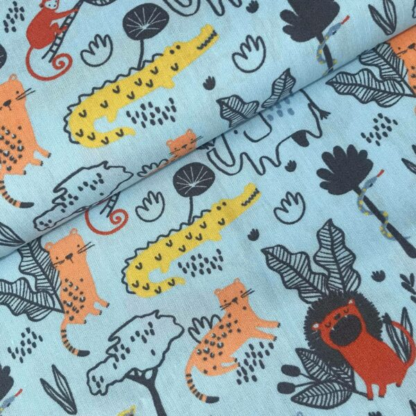 Katoen Wild animals bleu