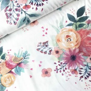 Tricot flowers/birds pastel