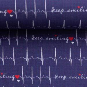 Katoen Keep on smiling blauw