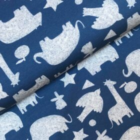 French Terry Forest animal blue