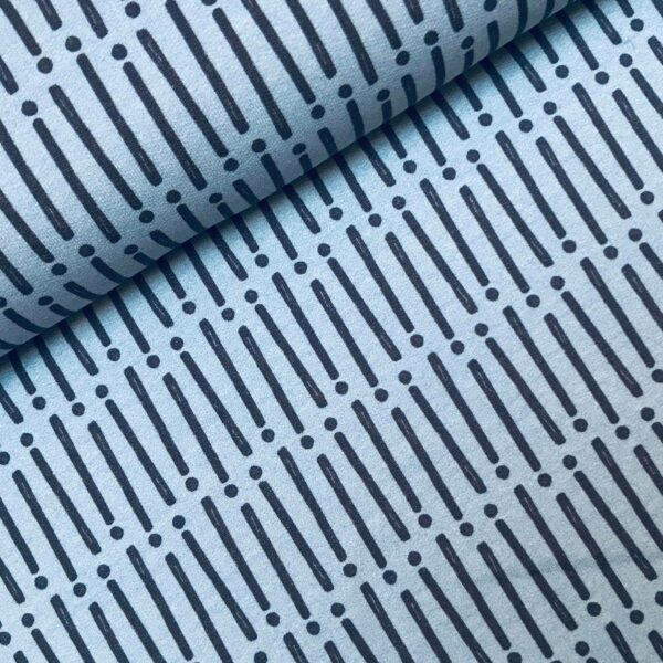 French Terry Mini forest lines blue