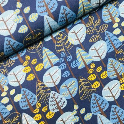 Tricot Woody trees blue