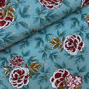 Viscose Flowers lurex green
