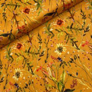 Viscose soft touch bloemen geel