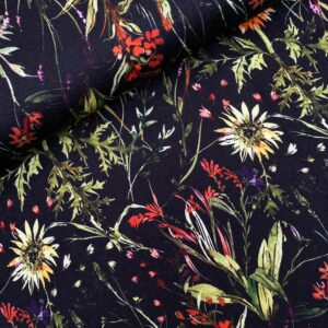 Viscose soft touch bloemen zwart