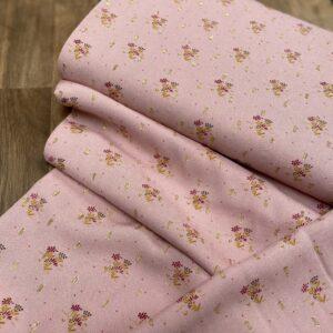 Viscose little flower lurex pink