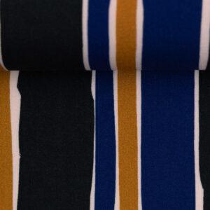 Viscose Stripes oker/blauw:zwart